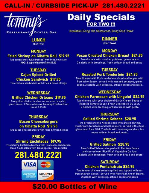Tommys Daily Specials - 032920